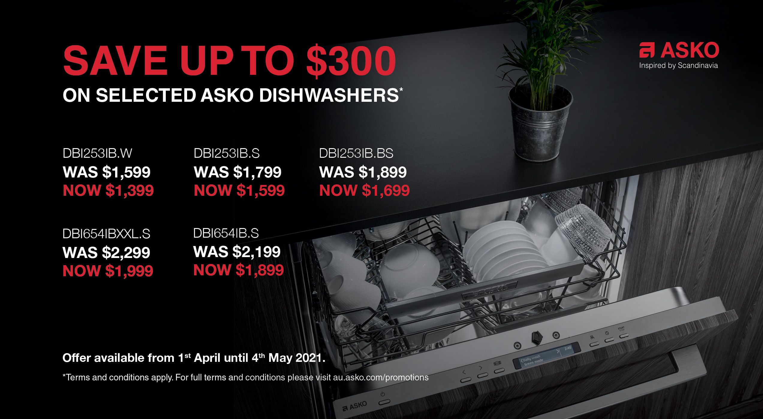 Savings up to $300 on selected Asko Dishwasher
